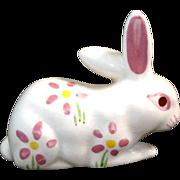 California Pottery Flowered Bunny Figurine