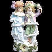 Sculpted Porcelain Bisque Colonial Provincial Couple Figurine