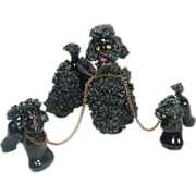 Black Spaghetti Poodles Figurines, Mama and Chained Pups
