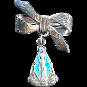 Italian Enameled Virgin Mary Miraculous Medal Bow Pin Brooch