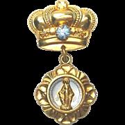 Goldtone Rhinestone Crown Pin Brooch Miraculous Mary Medal