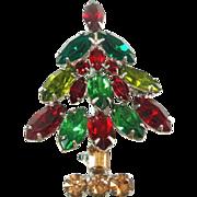 Napier Red Green Rhinestone Christmas Tree Pin Brooch
