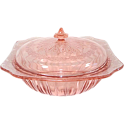 Jeannette Adam Pink Depression Glass Covered Serving Bowl