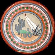 Mexican Tonala Burnished Folk Art Snake Charger Plate