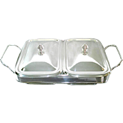 Silverplate Double Buffet Server Warmer Tray