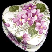 Bone China Violets Heart Shape Trinket Box