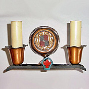 Arts and Crafts Copper and Cast Iron Double Electric Wall Sconce Light Fixture