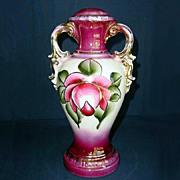 Hand Painted Magenta Stylized Rose Urn Lamp Base