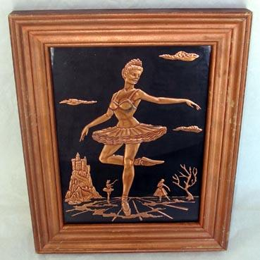 Ballerina Scene Tooled Copper Relief Framed Picture