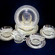 14 Pieces Hocking Queen Mary Crystal Plates, Cups, Saucers
