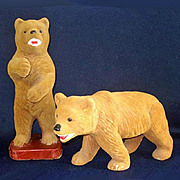 Pair Carnival Flocked Chalkware Large Bear Figurines