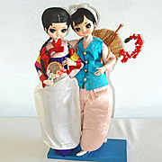 Twin Bradley Big Eyed Oriental Asian Girl Boudoir Dolls