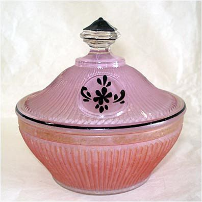 Reverse Painted Art Deco Lavender Glass Powder Jar