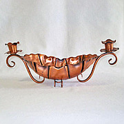 Gregorian Copper Console Bowl With Candle Holders