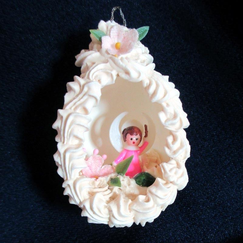 1960s Eggshell Angel Diorama Scene Easter Christmas Ornament
