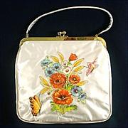 JR Florida Vinyl Covered Applique Flower Purse Mint
