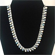 Coro AB Rhinestone and Faux Pearl Necklace