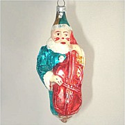 Clown With Cello West German Glass Christmas Ornament