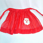 Child's Sheer Red Christmas Santa Claus Apron