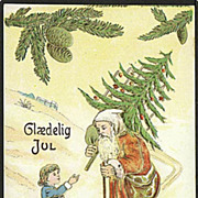 """Skiing Santa with Christmas Tree""  (1915)"
