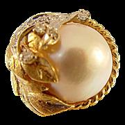 14 Karat Yellow Gold Mobe Pearl and Diamond Ring