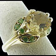 14 Karat Yellow Gold Citrine and Peridot Ring