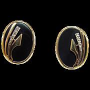 14 Karat Yellow Gold Onyx and Diamond Earrings