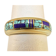"""Gold Turquoise and Lapis """"Ray Tracey"""" Ring"""