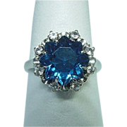 14 Karat White Gold Synthetic Spinel Ring