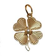 14 Karat Gold Small Shamrock with Pearl