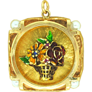 Sapphire, Ruby, and Pearl Flower Basket Pendant