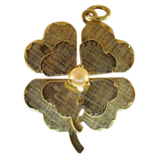 14 Karat Yellow Gold Double Shamrock with Pearl