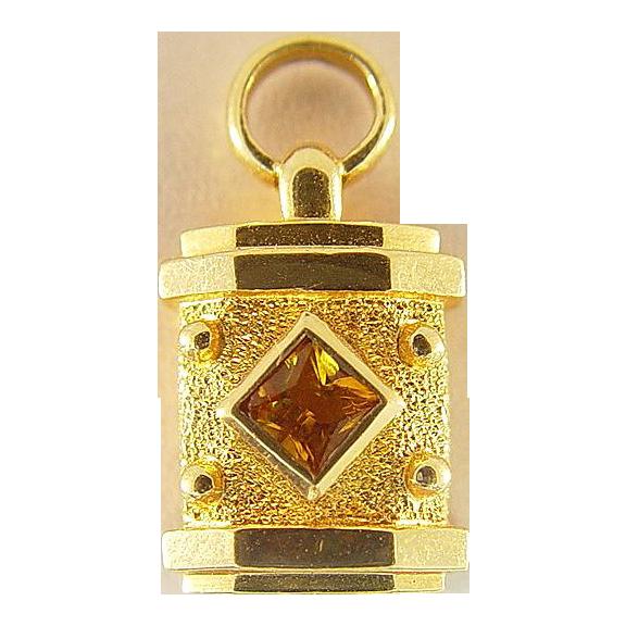 14 Karat Yellow Gold Citrine Lantern Charm