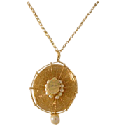 Lovely 14 Karat Yellow Gold Hat Pin with Pearls