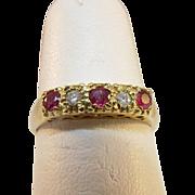 9 Karat Yellow Gold Ruby and Diamond Ring