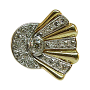Unique, Bold 14 Karat Yellow Gold and Diamond Ring