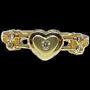 Lovely 14 Karat Yellow Gold Heart Ring with 5 Diamonds