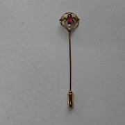 Vintage Victorian 10k Stick Pin Yellow Rose Gold Garnet Seed Pearl