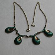 Vintage Norway Necklace Green Guilloche Enamel Elvik Modernism Mid Century