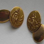 """Vintage Victorian Edwardian Cufflinks"""" WAR WOMEN"""" Patriotic Gold Brass Figural"""