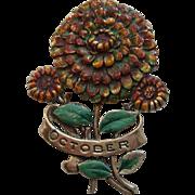 Vintage October MUM Sterling Flower Enamel Brooch Pin 1940's