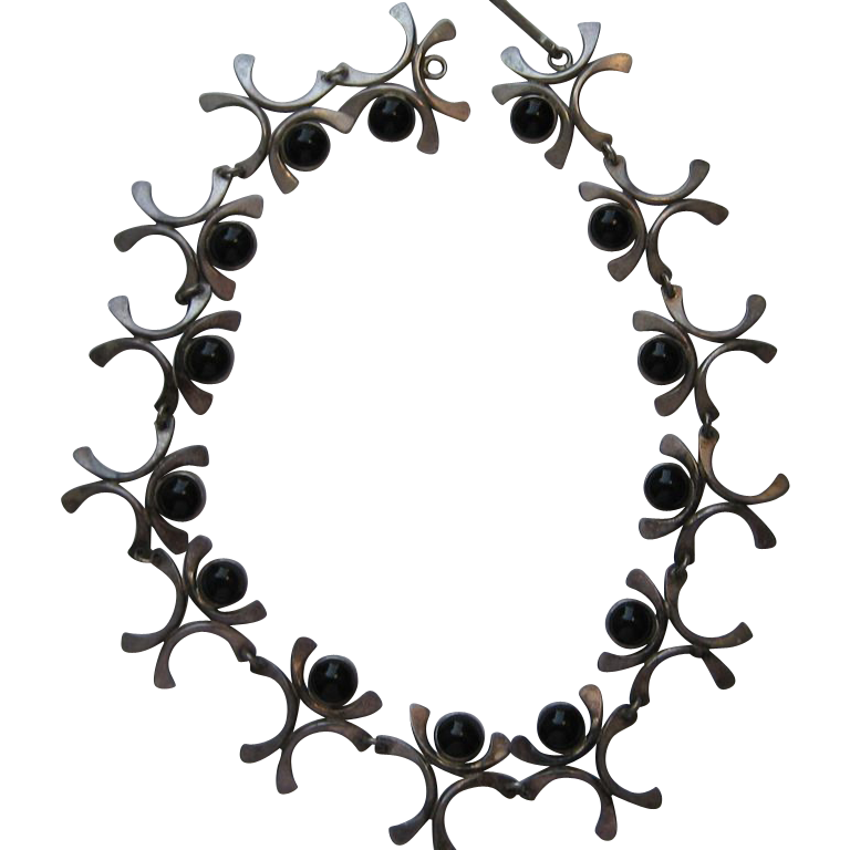Vintage Signed Israeli Modernist 1960's Necklace Sterling Silver Black Onyx AWESOME
