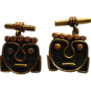"""Vintage """" MODERNIST"""" Cufflinks FACES Brass Copper Mexico Taxco Cuff Link"""