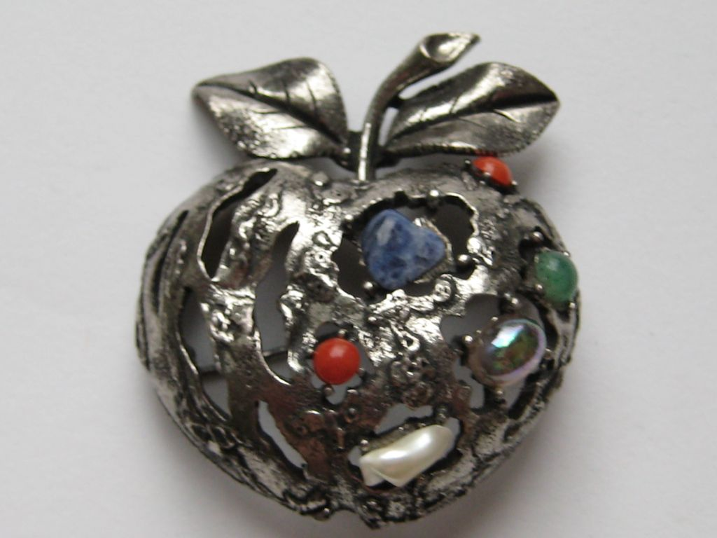 Vintage Coro Apple Pin 3-D Stylized Faux Pearl Lapis Jade lapis Coral Brooch