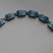 Sterling Silver Link Bracelet w/ Guilloche Enameled Painted Roses Vintage