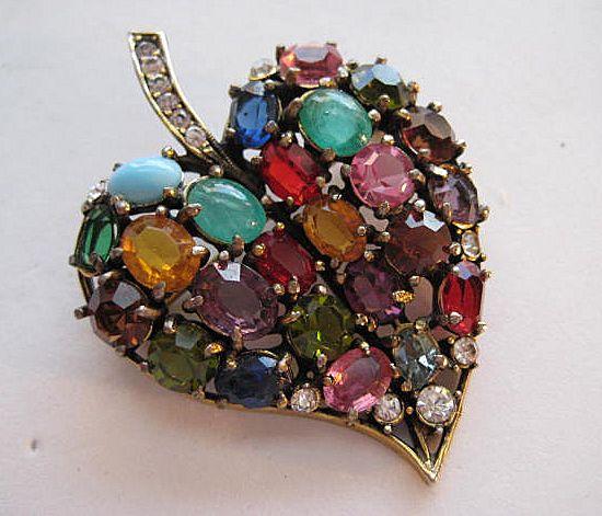 Vintage Hobe Leaf Moonstone Rhinestone Moonglow Rainbow Brooch Pin