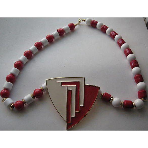 Vintage Crown Trifari  Enamel  Red White Plastic Deco Look BIG Necklace