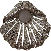 "Vintage BELLINI Clam Faux Pearl Moonstone Rhinestone ""BEAUTIFUL""  Pin Brooch"
