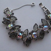 Vintage Juliana DeLizza & Elster Bracelet  BLACK DIAMOND & SMOKE Book Piece