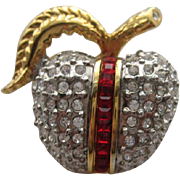 "Vintage Butler ""APPLE""  Fruit Pave Rhinestone Realistic Brooch Pin"